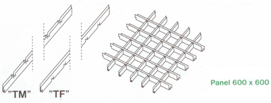 Montazna schema, hlinikovy rastrovy podhlad, BEK Baustoffe
